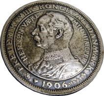 Denmark Frederik VIII 2 Kroner 1906 Silver XF+ Details - Danemark