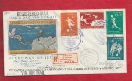 Lettre Recommandée Des Antilles Néerlandaises De 1957 Pour Les USA - FDC - Football - - Fútbol