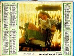 ALMANACH DES P.T.T 1982 (57)  -  Complet **CALINERIES AVEC MON CHIEN - CHIEN ET CHAT** Calendrier * OLLER * N° 219 - Big : 1971-80