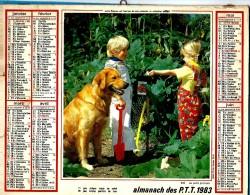 ALMANACH DES P.T.T 1983 (57) - Complet ** CHIEN GOLDEN RETRIEVER - POUSSINS ET CANETONS ** Calendrier * OLLER * N° 219 - Big : 1971-80