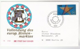 1992 GERMANY FDC Stamps EUROPEAN INTERNAL MARKET European Community Cover - European Community