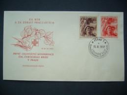 FDC Czechoslovakia 1952: Stamp Mi 770,771 - POF 696,697 - 1st National Congress Czechoslovak Red Cross - FDC