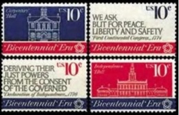 1974 USA Continental Congress Stamps Sc#1543-46 Architecture Peace Independence - Other
