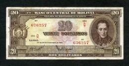 "BOLIVIA BILLETES; 20 Bs 1945 ""REFORMA DEL SISTEMA BANCARIO"". - Bolivien"