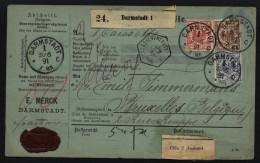 D.R.Paketkarte Von 1891,von Darmstadt (9360) - Deutschland