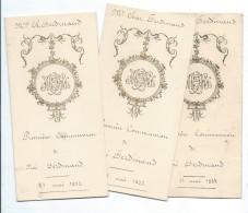 3  Menus De Communion  /Noé Ferdinand/Diner / 1933    MENU149 - Menus
