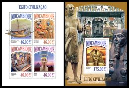 MOZAMBIQUE 2013 - Egypt Civilisation - YT 5737-40 + BF760; CV = 33 € - Egyptologie