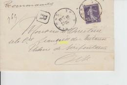 Timbre Sur Pli  1908 - Francia