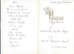 3  Menus De Mariage/Paulette Et Raymond /Ferdinand/ Déjeuner-Diner / 1947    MENU153 - Menus