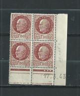 FRANCE  LUXE   N°  517  BLOC  DE  4  COIN  DATE  17/3/43  TYPE  PETAIN   NEUFS ** - 1960-1969