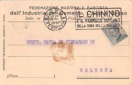 """05113  """"ROMA - FEDERAZIONE NAZIONALE FASCISTA DELL'INDUSTRIA DEL CEMENTO"""" CART. POST. ORIG. SPEDITA 1928. - Sindacati"""