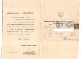 "05119 ""FIRENZE - SINDACATO PROVINCIALE FASCISTA INGEGNERI - CENTRO DI CULTURA"" BIGLIETTO POST. ORIG. SPEDITA 1932 - Sindacati"