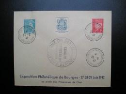 N°514 Pétain Et  538 Mercure  Sur Lettre  Année 1942  Bourges - France
