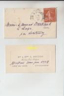 TIMBRE SUR ENVELOPPE  1933 - Francia