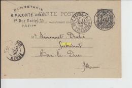 Carte Postalre  Imprimée Pretimbrée  1896  Pour Bar Le Duc - Francia