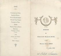 2   Menus De Mariage/Mutel-Simon/Simon/Déjeuner-Diner  / 1925    MENU161 - Menus