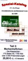 RICHTER 2016 DDR-Katalog Part 2 Markenheftchen New 25€ Standard Heftchen+Abarten Booklet+error Special Catalogue Germany - Material Und Zubehör
