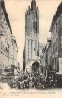 50 - Coutances - Rue Geoffroy-de-Montbray Et Cathédrale (Boucherie Boitard) - Coutances