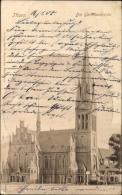 Cp Toru? Thorn Westpreußen, Die Garnisonskirche, Gesamtansicht, Giebel, Turm - Westpreussen