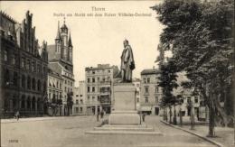 Cp Toru? Thorn Westpreußen, Partie Am Markt Mit Dem Kaiser Wilhelm Denkmal - Westpreussen