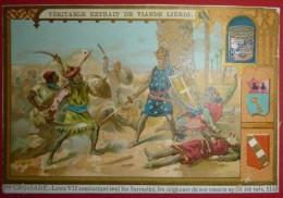 2 Chromos Liebig - 2me Croisade - Louis VII Combattant Seul Les Sarrazins - Emmargée Haut Et Côtés - Une Sans Légende - Liebig
