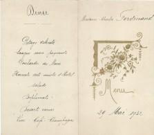 4     Menus  /Déjeuner-Diner /Lefebvre  / Ferdinand /1932      MENU168 - Menus