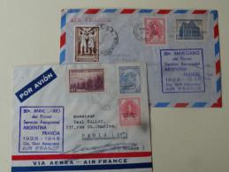 Lot De 2 Lettres Argentine PA 1948 Anniversaire Aeropostal - Briefe U. Dokumente