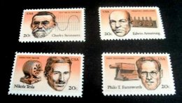 1983 USA American Inventors Stamps #2055-58 Famous Niagara Falls Power Plant Radio AC Generator TV Camera - Photography
