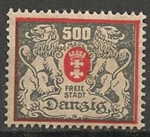 Timbres - Allemagne - Etranger - Dantzig - 1921-1923 - 500 Mark -