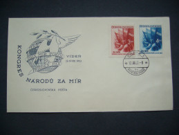 FDC Czechoslovakia 1952: Stamp Mi 774,775 - POF 698,699 - World Congress Of Nations For Peace In Viena - FDC
