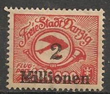 Timbres - Allemagne - Etranger - Aéreo - Dantzig - 1923 - 2 Millionen -