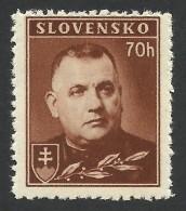 Slovakia, 70 H. 1942, Sc # 43A, Mi # 68YA, MNH, - Unused Stamps