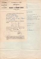 Certificat De Baccalauréat Bac C à Caen Le 8 Juillet 1947 - Mention Passable - - Collections