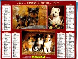 ALMANACH DU FACTEUR 2007 (59) - Complet ** 3 VUES COLLEYS Et WESTY - JACK RUSSEL Et LABRADOR** - Calendrier OLLER N°211 - Calendriers