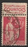 Timbre à Bande Publicitaire Type Paix II 50c Rouge N° 283. Pub Publicité Réclame Carnet - Werbung
