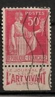 Timbre à Bande Publicitaire Type Paix 50c  I Rouge N° 283. Pub Publicité Réclame Carnet - Advertising