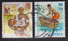 Zambie. Surchargé: Cueillette Des Champignons 355, Pêche Au Panier 355A - Zambie (1965-...)