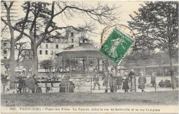 PARIS (XIX°) (cpa 75) Plae Des Fêtes, Le Square Entre La Rue De Belleville Et La Rue Compans - - Arrondissement: 19
