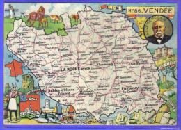 Carte Postale Géographique Département 85. La Vendée   Par JP Pinchon     Trés  Beau Plan - Landkaarten