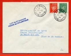 FRANCE LETTRE ILOT DE SAINT NAZAIRE DU 11/11/1944 DE LA BAULE - Marcophilie (Lettres)