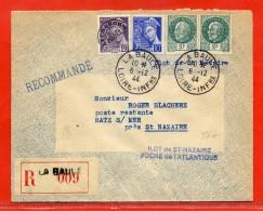 FRANCE LETTRE RECOMMANDEE ILOT DE SAINT NAZAIRE DU 06/12/1944 DE LA BAULE - Marcophilie (Lettres)
