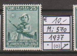 Italia 1937 MiN°570 1v  Mint/** Cat €10.00 Net €2.00 - Nuovi