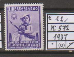 Italia 1937 MiN°572 1v  Mint/** Cat €12.00 Net €2.00 - Nuovi