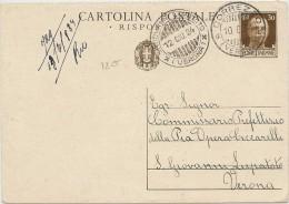 LPP14 - ITALIE EP CPRP REPONSE SEULE CORREZZO  / S.GIOVANNI LUPATOTO 12/6/1934 - 1900-44 Vittorio Emanuele III