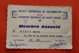 CARTE DE MEMBRE SOCIETE COOPERATIVE DE CONSOMMATION DE LA POUDRERIE NATIONALE DE SAINT-CHAMAS  BIEOU MARIUS - Documents Historiques