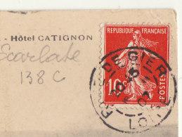 CP 10c Semeuse écarlate O. Rive De Gier Loire 1907 (2 Scans) - Marcofilia (sobres)