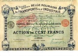 LT4 LOT DE 3 TITRES, Action De Cent Francs Société Générale Belge Roumaine De Transports Et D'industrie - Transports