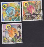 Zambie. Noël: Ange Parmi Les Fleurs 599A. Et Têtes D'animaux 599B Musicien Avec Oiseaux 599C - Zambie (1965-...)