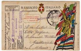 CARTOLINA POSTALE ITALIANA IN FRANCHIGIA - CORRISPONDENZA DEL R. ESERCITO - POSTA MILITARE - 10° REGG. FANTERIA - War 1914-18
