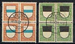 1922: 2 BLOCS De 4 X 5 & 10 Ct  Zoug & Fribourg  Nos: 21-22 (zn): Oblitérés   SBK = 170 € - Pro Juventute